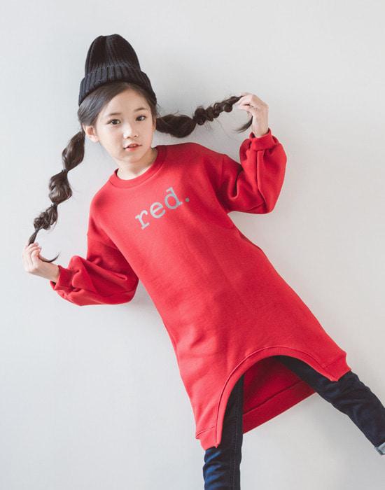 韩国官网进口童装代购[BHW] 레드 나염 롱 티.tsh女长款t恤(韩国国际快递直发包邮)